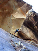 Rock Climbing Photo: Russ moving onto the improbable slab under the roo...