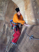 Rock Climbing Photo: Susan coming into the station at the end of the ro...