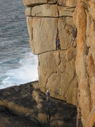 Rock Climbing Photo: Starting the chimney on Demo Route (photo by Phil ...