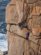 Rock Climbing Photo: Starting the upper part of Demo Route (photo by Ph...