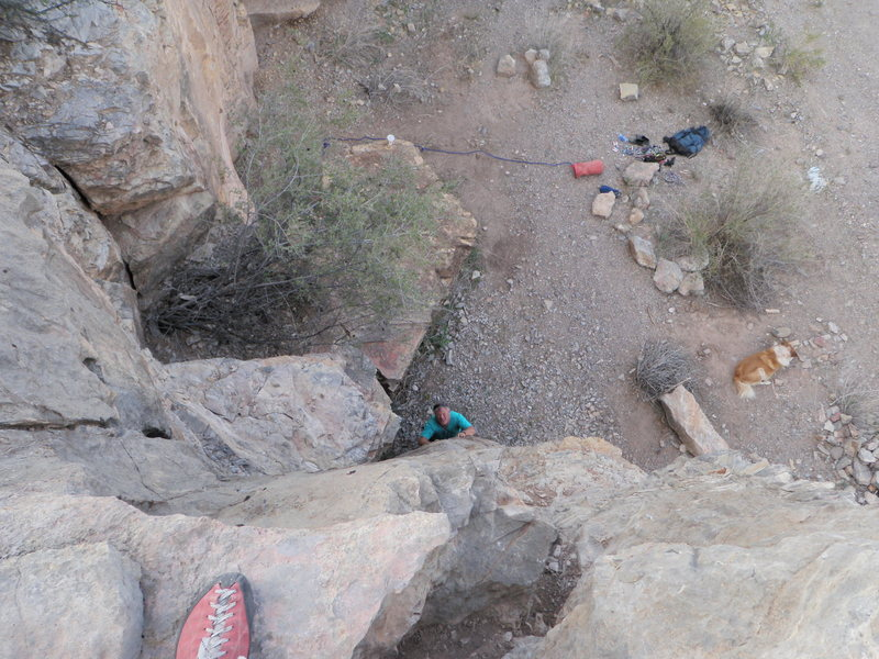 Rock Climbing Photo: This is looking down at my hardest climb to date..