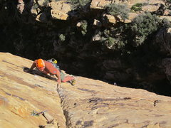 Rock Climbing Photo: Alex leading up to the big comfy ledge.