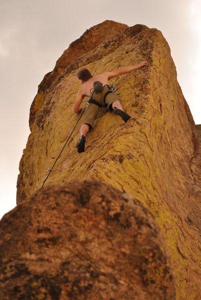 Jeremiah Johnston climbing the Golden Egg.