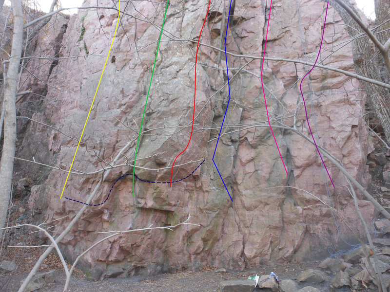 Yellow 5.7 Henry Aaron<br> Green 5.9+ The Scream<br> Red 5.11+ Aloha<br> Blue 5.9 The Bitch<br> Pink 5.9 Son of a Bitch<br> Purple 5.10a Little Miss Roundheels<br> Blue Traverse v2