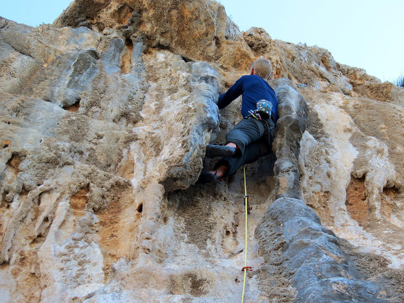 Rock Climbing Photo: Am I on tufas? Am I on chimney trad? Am I on drugs...