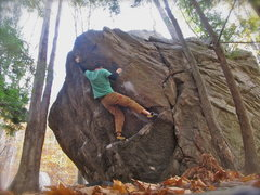 Rock Climbing Photo: Sticking the pinch on the V5 variation. self portr...