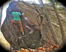 Rock Climbing Photo: getting the foot up to make the bump to the lip. S...