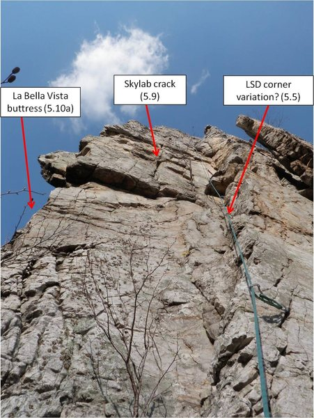 Probably route locations on the east face of the Skyline Buttress