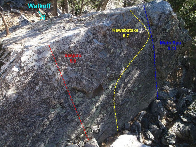 Bonsai Boulder topo, showing all routes