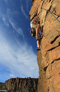 Rock Climbing Photo: Starting up the steep arete on the crux 2nd pitch ...