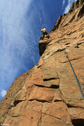 Rock Climbing Photo: High up on the route - an inobvious rest on the ar...