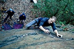Rock Climbing Photo: Clipping third bolt on Neophyte's. Photo by Kara M...
