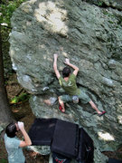 Rock Climbing Photo: Travis Horne on the FA of Pit-Fall Traverse