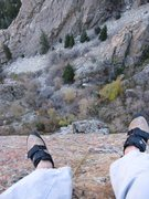 """Rock Climbing Photo: Belaying next to the """"Diving Board"""" atop..."""