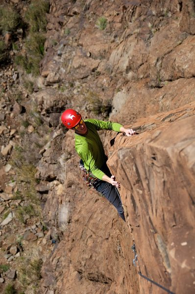 Rock Climbing Photo: Airy, fun climbing on the arête high on the route...