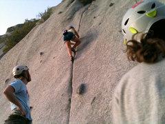 KT headed up the Bushwack Crack.