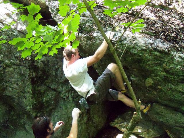 "Rock Climbing Photo: Kayle (on vacation from AZ) on the FA of ""Rai..."
