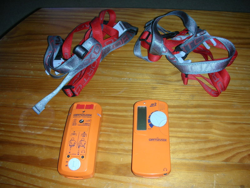 Two Ortovox M2 beacons