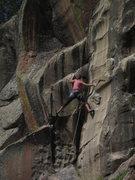 Rock Climbing Photo: Helen climbing the dihedral of Stepchild.
