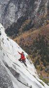 Rock Climbing Photo: Zoso traversing over from the gully above Disco Du...