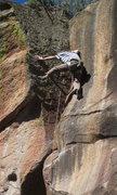 Rock Climbing Photo: Matt on the stemming finish of Keepin' It Real.