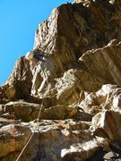 Rock Climbing Photo: Just above the crux getting out of the roof. The p...