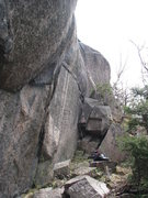 Rock Climbing Photo: The start of Owl Be Seeing Ya begins on the steep ...