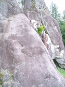 Rock Climbing Photo: Steve cruising above the crux on Pamplemousse