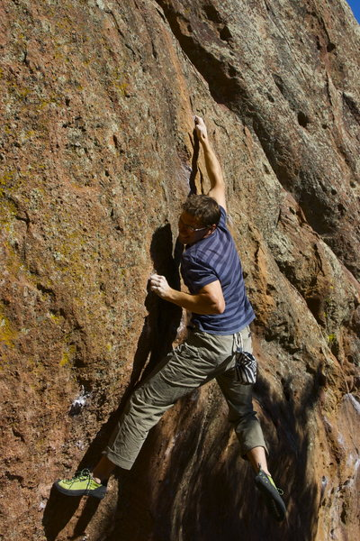 Rock Climbing Photo: Trying hard to crimp the new broken hold.  Photo b...