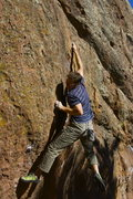 Rock Climbing Photo: Trying hard to crimp the new broken hold.  Photo b...