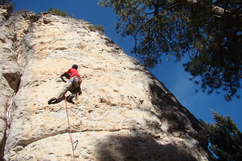 Me on The Memorial climb. 5.11a/b<br> Sunshine Wall, Spearfish Canyon.<br> South Dakota