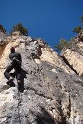 Rock Climbing Photo: At the start of Simply Ravishing, 5.10c. This thin...