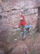 Rock Climbing Photo: Second crux, Remo palmed with his left and reached...