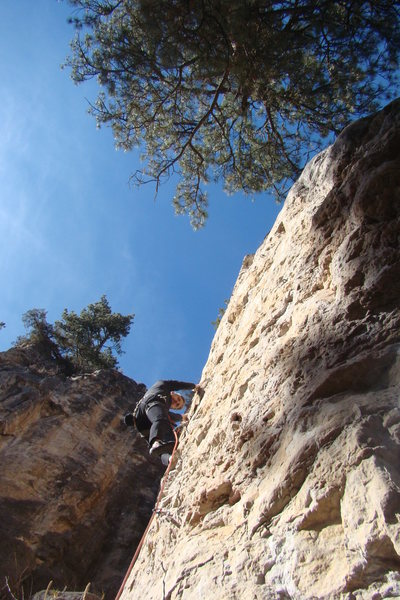Start of the EBM climb, 5.11a/b