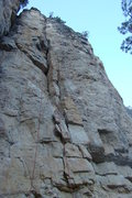 Rock Climbing Photo: Bald/Shaved with a red rope hanging from it. This ...