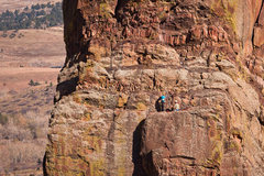 Rock Climbing Photo: Climbers starting the exit pitch on the West Face ...