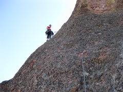 Rock Climbing Photo: Noal Elkins leading the cool second pitch