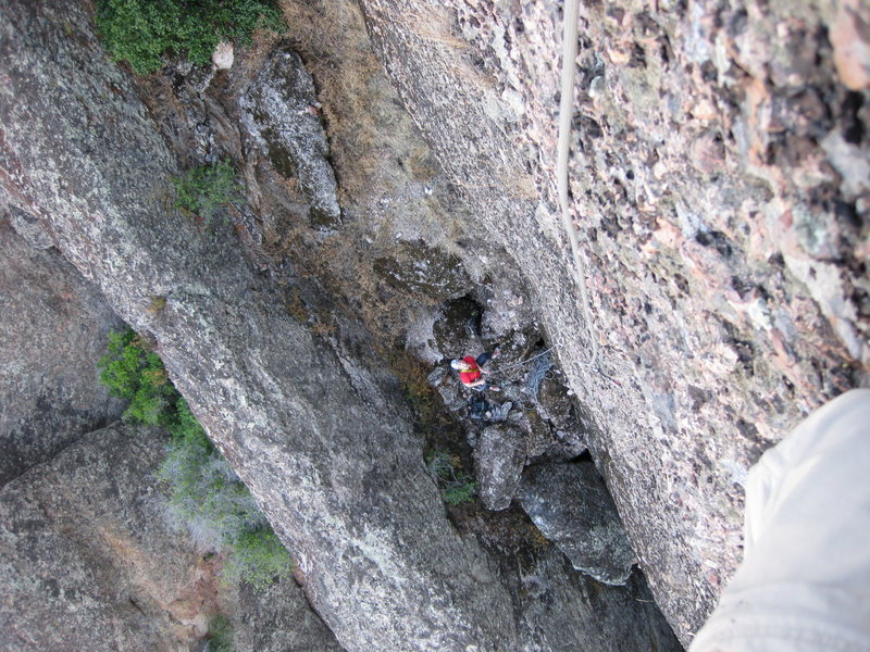 Rock Climbing Photo: Looking down partway up first pitch