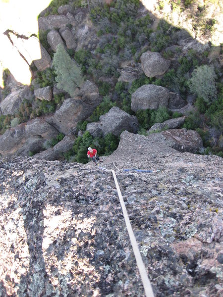 Rock Climbing Photo: Looking down partway up third pitch
