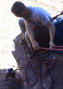 Rock Climbing Photo: chris belaying up Austin P2