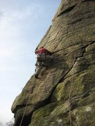 Rock Climbing Photo: Moving left after the start of Croton Oil (photo b...