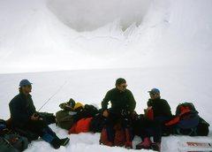 Rock Climbing Photo: J. Burton, G. Child & M. Kennedy waiting for a rid...