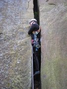 Rock Climbing Photo: The start is a bit dirty, with lots of decaying rh...