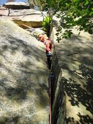 Rock Climbing Photo: After a very tight section, holds appear and a goo...