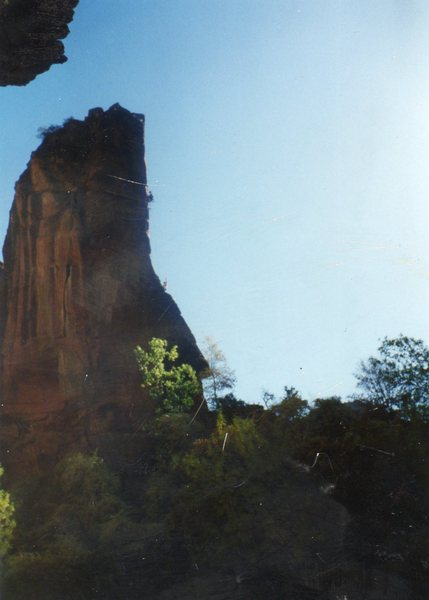 Rock Climbing Photo: Don leading pitch two of the  Pulpit in October 19...