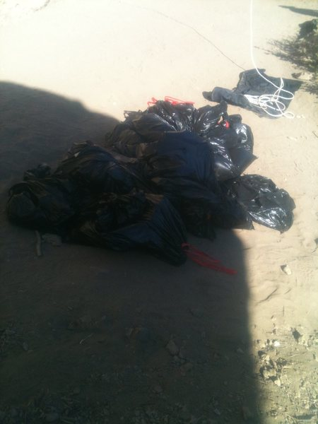 Trash from the 2nd annual Adopt-A-Crag at Malibu Creek on 10/29/11