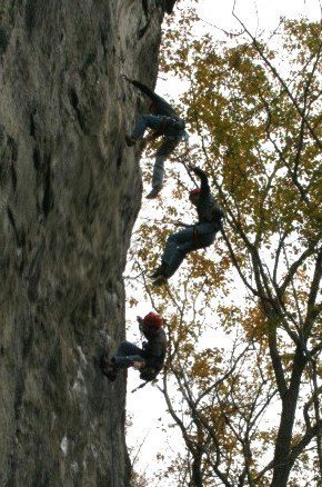 Rock Climbing Photo: Failing to gain the 11th bolt after several tries....