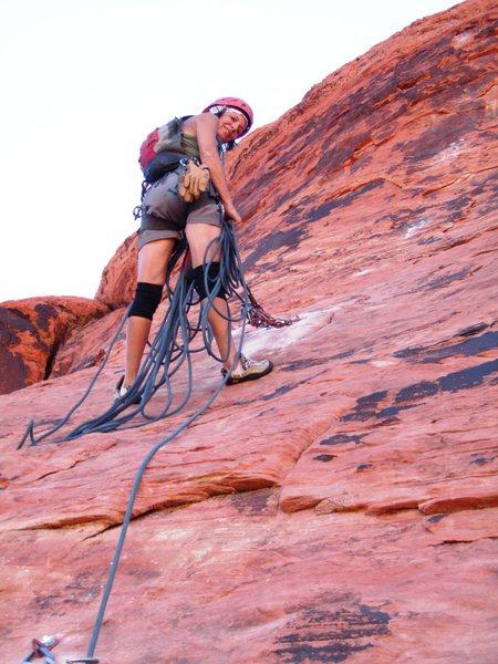 Rock Climbing Photo: Lynda G. at the hanging P2 belay
