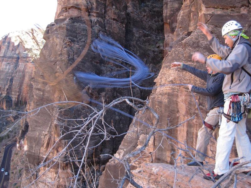Rock Climbing Photo: Ropes in flight