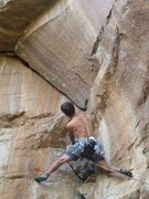 Rock Climbing Photo: John with the ground up FA of the first route on t...